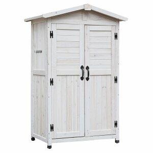 物置 木製 三角屋根収納庫 ホワイト 高さ160cm KGRS1600WHT ※北海道+3000円