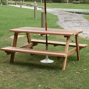 1月下旬入荷予定 ガーデンテーブル レッドシダー ピクニックテーブル 幅147cm (OHPM-105) 日本製 ※北海道+5500円