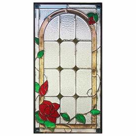 ステンドグラス (SH-A16) 一部鏡面ガラス 913×480×18mm デザイン 薔薇 ローズ ピュアグラス Aサイズ (約13kg) ※代引不可