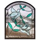 ステンドグラス (SH-K07N) 500×400×18mm デザイン 鳩 オリーブ 窓型 ピュアグラス Kサイズ (約6kg) ※代引不可