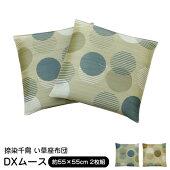 座布団クッションい草55×55cm『DXムース』2枚組日本製国産捺染