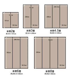 ラグ『ウィード』江戸間8畳(約348×352cm)い草風PPカーペット洗える純国産日本製2116908/2117008