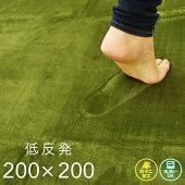 ラグ厚手200×200cmフロックス低反発グリーン