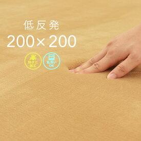 ラグ 低反発 200×200cm ベージュ 洗える フロックス 厚手 ホットカーペット 対応 CLEARANCE 在庫一掃