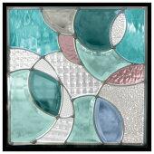 ステンドグラス(SH-E17)300×300×18mm一部鏡面ガラスデザイン花ピュアグラス(約3kg)※代引不可