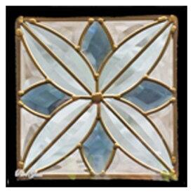 【送料無料】ステンドグラス メーカー在庫限り (SH-D06) 一部鏡面ガラス 200×200×18mm デザイン Dサイズ (約1kg) ※代引不可