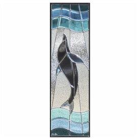 ステンドグラス (SH-C09) 一部鏡面ガラス 927×289×18mm デザイン 海 イルカ ピュアグラス Cサイズ (約8kg) ※代引不可