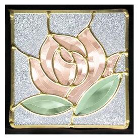 ステンドグラス (SH-D10) 200×200×18mm デザイン ローズ 薔薇 ピュアグラス Dサイズ (約1kg) ※代引不可