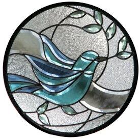 ステンドグラス (SH-K10) 一部鏡面ガラス 400×400×18mm 円形 鳩 ピュアグラス Kサイズ (約4kg) メーカー在庫限り ※代引不可