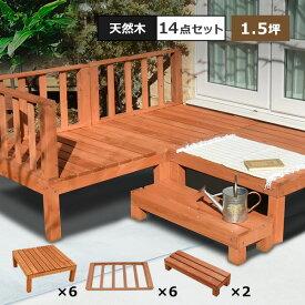 【本格組立式】 ウッドデッキ DIY キット 7点x2セット 天然木 シダー製 1.5坪 [ライトブラウン] 木製デッキ 送料無料