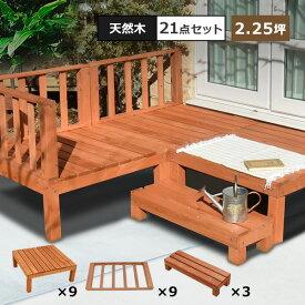 【本格組立式】 ウッドデッキ DIY キット 天然木 シダー製 [7点セットx3][ライトブラウン] 2.25坪 木製デッキ 送料無料