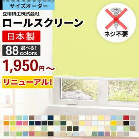 ロールスクリーン ロールカーテン オーダー 遮光 1級 ウォッシャブル 洗える 間仕切り つっぱり 防炎 防水 シースルー 浴室 選べるタイプ タチカワ 無地 北欧 おしゃれ 日本製 新生活