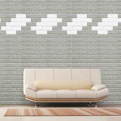 壁紙レンガシートシールブリックタイルレンガタイルフォームブリックブリックシートレンガ柄アクセントクロスリメイクシート[グレー]3D立体壁紙クッション壁紙板壁ブリック軽量レンガリフォームリビング子供部屋内装