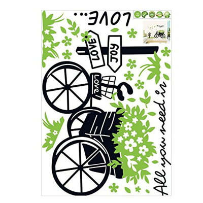 [ウォールステッカーカートと草]ウォールステッカー北欧窓木ツリー花鏡英字英文スイッチ身長計アルファベット猫窓時計トイレはがせる壁紙シール【新規開店150205】