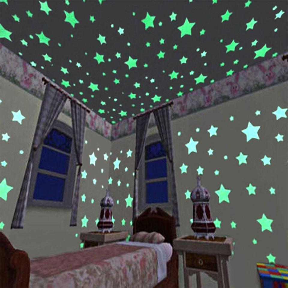 ウォールステッカー 蓄光 星 スター スマイル 月 ムーン 全6種類 貼ってはがせる ステッカー くり返し使用可 星空 星屑 ほんのり光る スターダスト 天井 壁 デコレーション