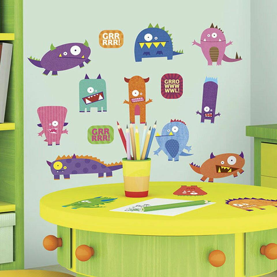 ウォールステッカー かわいい 怪物 [モンスター] ルームメイツ RoomMates 半透明 かわいい きれい 北欧 シンプル アルファベット シール のり付き 壁紙シール キッチン リビング 子供部屋 保育園 幼稚園 Monsters