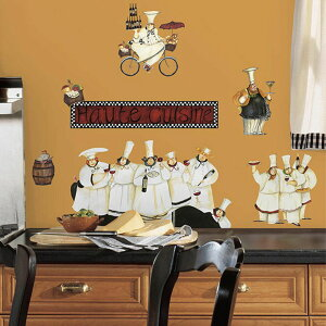 ウォールステッカー シェフ コック ワイン [シェフ] ルームメイツ RoomMates 半透明 かわいい きれい 北欧 シンプル アルファベット シール のり付き 壁紙シール キッチン リビング Chefs
