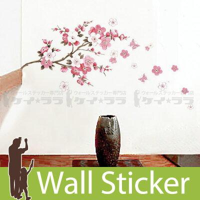 [ウォールステッカー桜木と花]ウォールステッカー北欧窓木ツリー花鏡英字英文スイッチ身長計アルファベット猫窓時計トイレはがせる壁紙シール