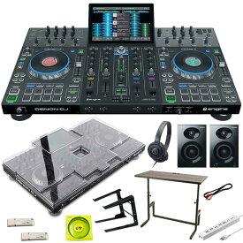 DENON Prime 4 + ATH-100BK + PCスタンド + DJ233 DJテーブルSET 【保護カバー+USBメモリ+USBケーブル+電源タップ+パワードスピーカープレゼント】