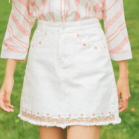 デニムミニスカート Aラインスカート 花柄刺繍 切りっぱなし ポケット付/あす楽/送料無料