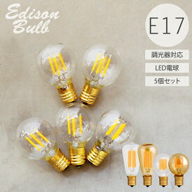 【5個セット】【口金E17】【調光器対応】エジソンバルブLED E17電球 電球色 昼白色 エジソン電球 レトロ フィラメントLED シャンデリア用 ミニボール球