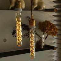 人気のレトロエジソンバルブLED電球。細長い筒形。E26スパイラルロングチューブゴールド。