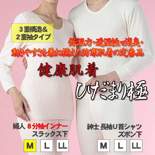 【送料無料】ひだまり 極(きわみ) 婦人8分袖インナー サイズM ピーチ