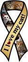 Catブリード リボン カーマグネット【I love my cat】【イエロー】 【猫雑貨・猫グッズ】
