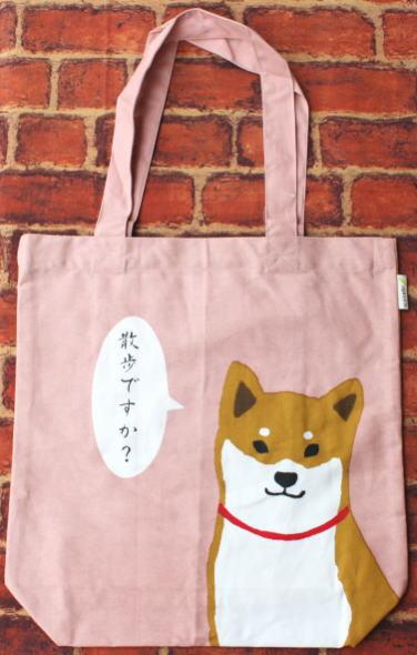 A4トートバッグ フレームしばたさん ピンク【犬雑貨・犬グッズ・柴犬】