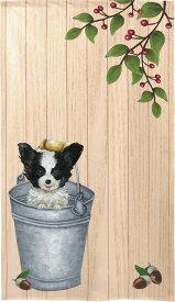 暖簾【のれん】 Papillon in bucket【犬雑貨・犬グッズ・パピヨン】