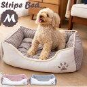 【最大450円OFFクーポン有】 肉球マークのストライプ角型ペットベッド Mサイズペット ベッド 猫 犬 小型 中型 通年 あ…