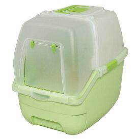 【あす楽】 楽ちん猫トイレフード付きセットグリーンオレンジ猫キャットトイレ本体システムトイレ2週間取り替え不要RCT-530Fアイリスオーヤマ