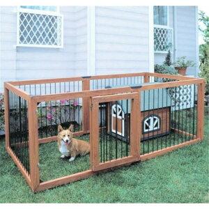 犬 サークル 屋外 木製ペットサークル 6枚セット KS-906S 送料無料 小型犬 中型犬 サークル 木製 屋外 野外 室外 ハウス ドッグサークル ペットサークル 囲い 柵 ペット用品 アイリスオーヤマ