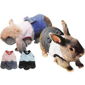 レインボー rabbit リボン付きスカートワンピ M (レッド、ブルー)