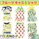 犬 服 春 夏 【フルーツ キャミ&シャツ】可愛いパインとイチゴのお洋服 5サイズ 犬の服 夏服