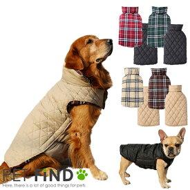 2020秋服新作 犬服 ブランド かわいい PETFiND 犬 犬の服 秋冬 リバーシブルチェックベスト 小型犬 中型犬 大型犬