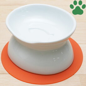 【15】 ハリオ 猫用フードボウル にゃんプレ ダブル(浅型・深型) ホワイト 滑り止めシリコンマット付き 食器 陶器 フードボール お洒落 シンプル モダン