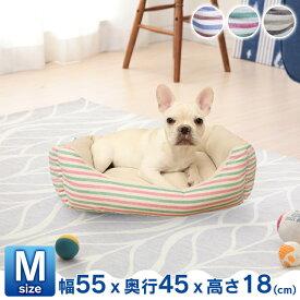 PPボーダーベッド M ペット ベッド ペットベッド マット 蒸れにくい 春夏 涼しい 犬 猫 トリコロール イタリアン チョコバニラ【D】