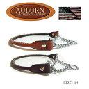 AUBURN 丸革チェーン・ハーフチョークカラー サイズ14 小型〜中型犬用 丸革ブライドル(馬具)レザー ペット・ペッ…