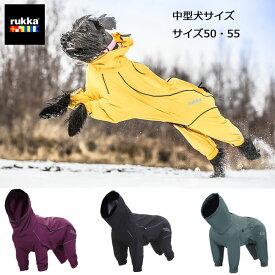 ルッカ オーバーオールレインコートサイズ50 55 犬 レインコート 中型犬 大型犬 フルレングス 着せやすい