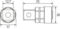"""トップ工業農機用爪交換レンチ用アダプター[CKR-174]12.7(1/2"""")mm"""