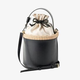 【round basket bag / black】STORY掲載 カゴバッグ 巾着バッグ ショルダー 斜め掛け ハンドバッグ 日本製 国産 ブラック 合皮 小さめ 送料無料 レディース Dolce. ドルチェ