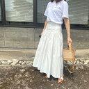 50%OFFクーポン対象【ボリュームフレアスカート / white】スカート ロング シンプル フロントボタン フレア 日本製 …