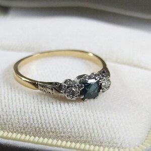 アンティーク リング 指輪 ダイアモンド サファイア イギリス ジュエリー アクセサリー 贈り物 母の日 ギフト プレゼント 9K 誕生日 ホワイトデー パワーストーン