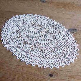 アンティーク レース ドイリー 敷物 コットン フランス 楕円形 花瓶 テーブル 母の日 敬老の日 プレゼント 贈り物 ギフト