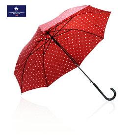 【SALE】ケンブリッジユニバーシティポロクラブ CAMBRIDGE UNIVERSITY POLO CLUB ユニオンジャックドット柄 水玉 レッド×ホワイト レディースブランド 長傘 雨傘