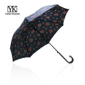 【SALE】ユキコ キミジマ Yukiko Kimijima ブロックローズプリント ネイビー レディースブランド 長傘 雨傘