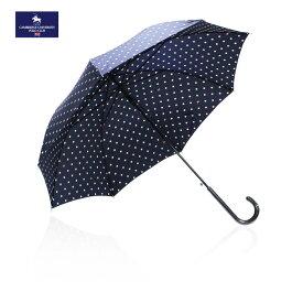 【SALE】ケンブリッジユニバーシティポロクラブ CAMBRIDGE UNIVERSITY POLO CLUB ユニオンジャックドット柄 水玉 ネイビー×ホワイト レディースブランド 長傘 雨傘