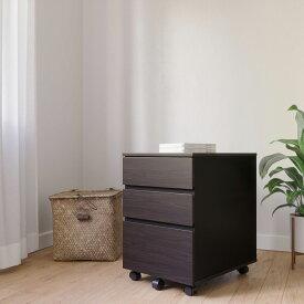デスクサイドワゴン キャスター付き 3段 キャビネット 袖机 オフィス収納 A4対応 パソコンデスク用 オフィスデスク用 サイドワゴン 幅40×奥行54×高さ59cm (二色)