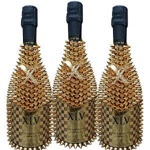 [送料無料]XLV ブジー グランクリュ ミレジメ デコレーションボトル 750ml×3本セット フランス シャンパーニュ ホスト 御用達 シャンパン ルイ ヴィトン トゲトゲ ドリアン トゲヴィトン